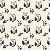Simple seamless vector pattern Cute hand drawn owls and twigs with leaves The background color is easy to change