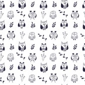 Owl seamless pattern Hand drawn vector illustration Different kinds of owl Doodle