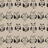 Owl seamless pattern Hand drawn vector illustration Different kinds of owl Doodle Crafting background