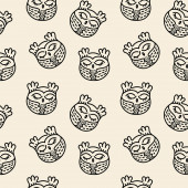 Doodle seamless vector pattern Cute hand drawn sleeping owls  monochrome