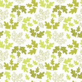 Bright green oak leaves on white background Contours and silhouettes
