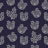 Cute hand drawn owls and leaves Simple seamless vector pattern