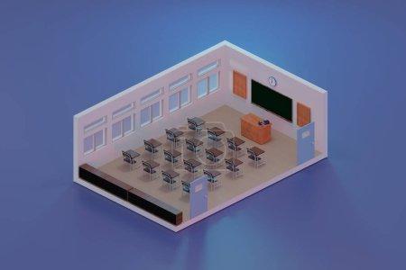3d rendering class room isometric., 3d illustratio...
