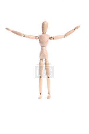Photo for Wooden human toy mannequin on white background - Royalty Free Image