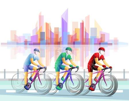 Photo pour Tour à vélo, piste, vélo, géométrique, cycliste stylisé vecteur. Un jeune homme fait du vélo. Activité sportive. - image libre de droit