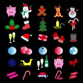 Set of Merry Christmas 30 icons Happy New Year