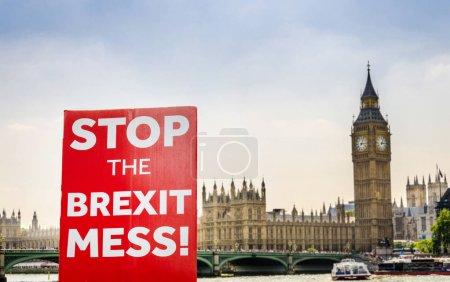 Plaque composite anti-Brexit à Westminster, Londres, Royaume-Uni