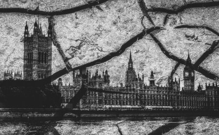 Houses of Parliament and Big Ben in London with deep cracks as a metaphor for disorder - Brexit theme
