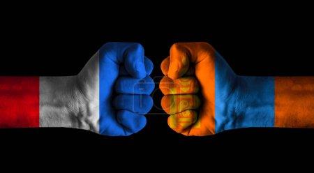 Photo pour France vs Mongolia concept - image libre de droit