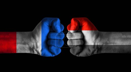 Photo pour France vs Yemen concept - image libre de droit