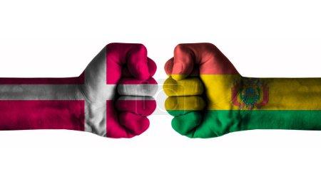 Photo pour Denmark vs Bolivia concept - image libre de droit