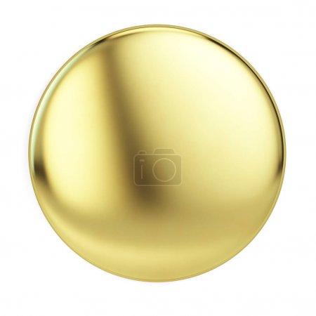Photo pour Broche épinglette dorée isolée sur maquette blanche. Rendu 3d - image libre de droit