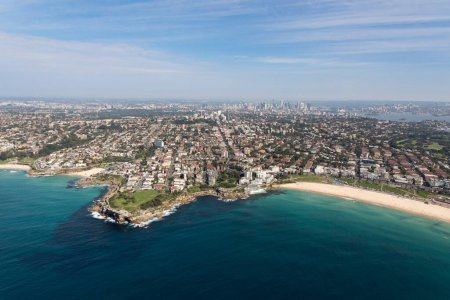 Photo for Aerial view of the famous Bondi Beach - one of the most famous beaches located a short drive from the CBD of Sydney - Royalty Free Image