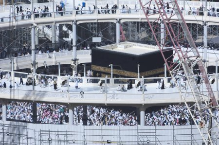 Pilgrims Tawaf Around Al-Kaaba While Construction Works Are Going on at Al Haram in Mecca, Saudi Arabia