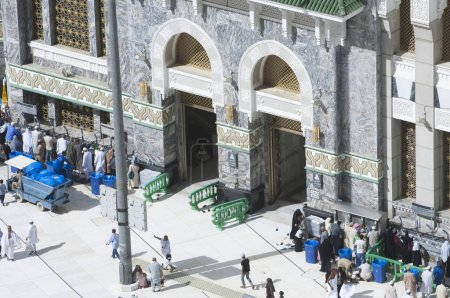 Pilgrims at The Gate of Al Haram of Al Kaaba in Mecca, Saudi Arabia