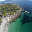 Aerial view of Beach and village in Inisheer islan...