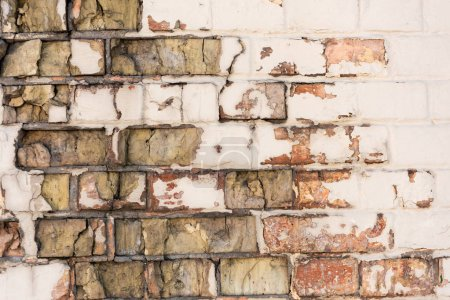 Photo for Close-up view of old weathered rough brick wall background - Royalty Free Image