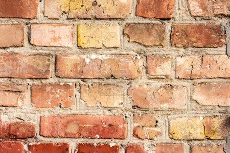 Photo pour Gros plan vue plein cadre de fond de mur de briques brunes - image libre de droit