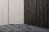 grey wooden floor and wooden walls