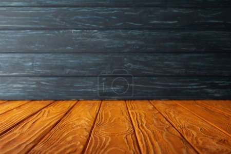 Photo for Orange striped floor and dark blue wooden wall - Royalty Free Image