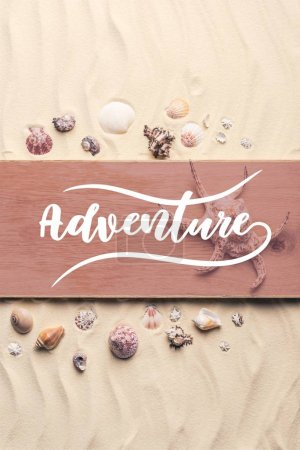 "Photo for Large seashell on wooden pier on sandy beach with ""adventure"" lettering - Royalty Free Image"
