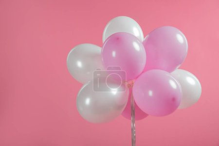 Pink and white party balloons isolated on pink