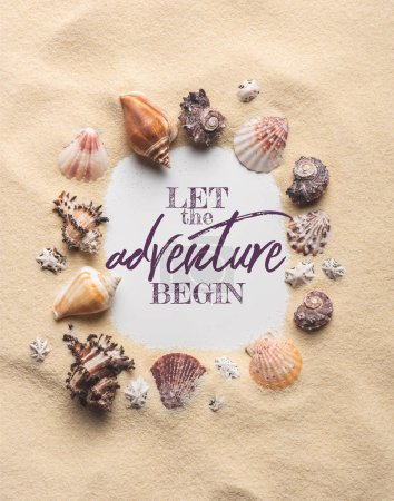 Frame of various seashells on sandy beach, let adventure begin inscription