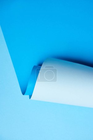 close-up view of bright blue creative paper background