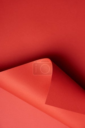 close-up view of blank red textured paper background