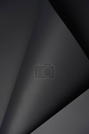 close-up view of blank black textured paper background