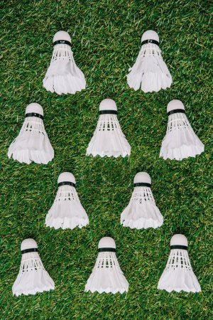top view of white shuttlecocks arranged on green grass