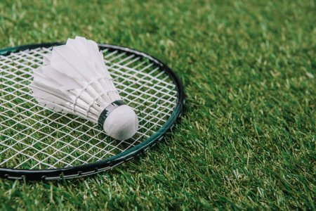 close up view of white shuttlecock and badminton racket lying on green grass