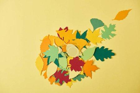 Foto de Endecha plana con papercrafted colorido follaje dispuesto sobre fondo amarillo - Imagen libre de derechos