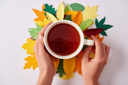 partial view of woman holding cup of hot tea on white tabletop with colorful papercrafted leaves