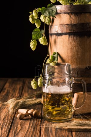 mug of fresh beer with foam, wheat, hop and wooden barrel at table on black background