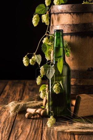 beer bottle, wheat, hop and wooden barrel at table on black background