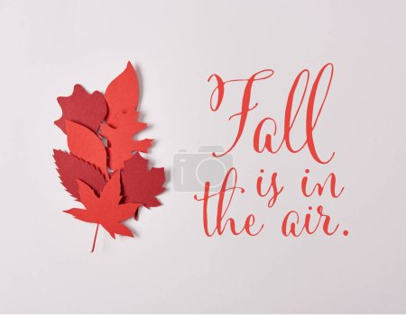 "top view of red papercrafted leaves with ""fall is in the air"" inspiration on white background"