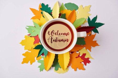 """Photo pour Vue du dessus de tasse de thé avec lettrage """"bienvenue automne"""" sur des feuilles colorées artisanales sur surface blanche - image libre de droit"""