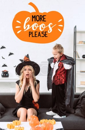 "little boy in vampire costume screaming at mother in witch halloween costume at home with ""more boos please"" lettering"