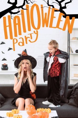 "little boy in vampire costume screaming at mother in witch halloween costume at home with ""halloween party"" lettering"