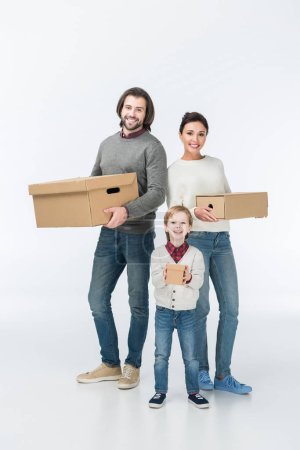 happy family holding cardboard boxes isolated on white