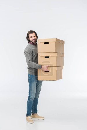man holding stack of cardboard boxes isolated on white