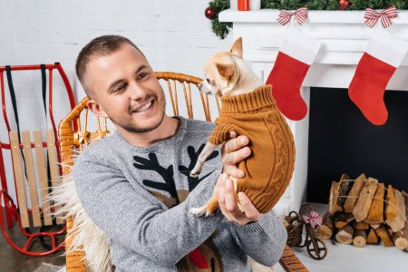 Photo for Portrait of smiling man holding chihuahua dog in decorated room for christmas - Royalty Free Image