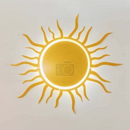 Photo for Close-up view of decorative bright yellow sun isolated on white - Royalty Free Image