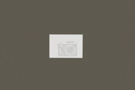 Photo for Top view of single closed white letter isolated on grey background - Royalty Free Image