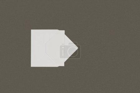 top view of open white envelope with blank card isolated on grey background
