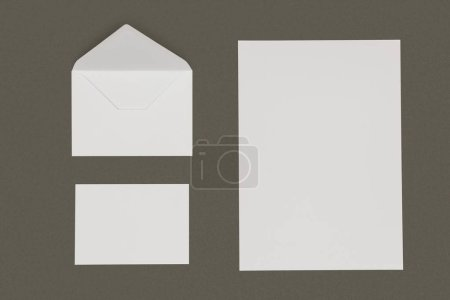 Photo for Top view of open white envelope, blank card and paper sheet isolated on grey - Royalty Free Image