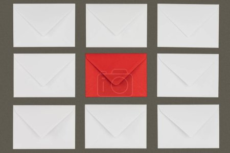 Photo for Closed red and white letters isolated on grey background - Royalty Free Image