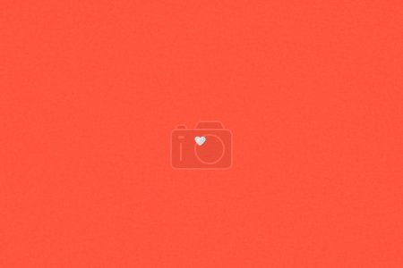 Photo for Small single white heart symbol isolated on red background - Royalty Free Image