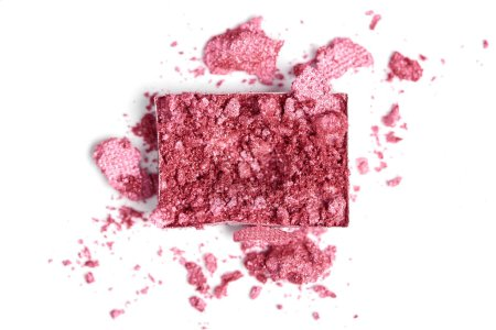 Photo for Top view of bright pink eyeshadow on white backdrop - Royalty Free Image